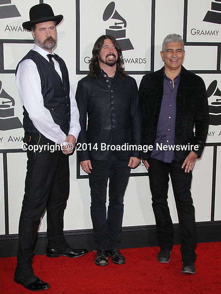Pictured: Foo Fighters<br /> Mandatory Credit &copy; Frederick Taylor/Broadimage<br /> 56th Annual Grammy Awards - Red Carpet<br /> <br /> 1/26/14, Los Angeles, California, United States of America<br /> <br /> Broadimage Newswire<br /> Los Angeles 1+  (310) 301-1027<br /> New York      1+  (646) 827-9134<br /> sales@broadimage.com<br /> http://www.broadimage.com