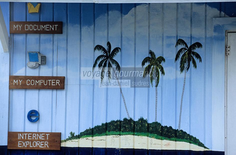 Iles Bahamas /Ile d'Eleuthera/Harbour Island/Dunmore Town: Fond d'écran du système d'exploitation Windows de Microsoft peint sur un mur en bois