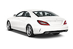 Rear three quarter view of 2015 Mercedes Benz CLS-Class CLS400 2 Door Coupe Angular Rear Stock Photo