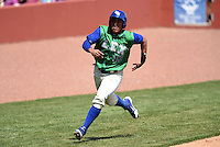 Lexington Legends designated hitter Samir Duenez (16) scoring a run during a game against the Hagerstown Suns on May 19, 2014 at Whitaker Bank Ballpark in Lexington, Kentucky.  Lexington defeated Hagerstown 10-8.  (Mike Janes/Four Seam Images)