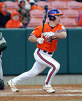 Jeff Schaus (3) hits during a game between the Charlotte 49ers and Clemson Tigers Feb. 20, 2009, at Doug Kingsmore Stadium in Clemson, S.C. (Photo by: Tom Priddy/Four Seam Images)