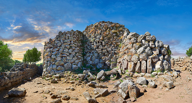 Picture and image of the prehistoric magalith ruins of Nuraghe Arrubiu ( Red Nuraghe), archaeological site, Bronze age (14 -9 th century BC). The Nuraghe Arrubiu is one of the ;argest Nuraghe on Sardinia with a central fortification which had 5 towers reacing 35 -30 mteres high. Orroli, Southern Sardinia.