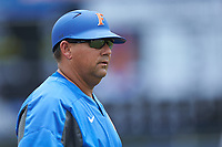 Craig Bell of the Florida Gators coaches third base during the game against the Wake Forest Demon Deacons in the completion of Game Two of the Gainesville Super Regional of the 2017 College World Series at Alfred McKethan Stadium at Perry Field on June 12, 2017 in Gainesville, Florida. The Demon Deacons walked off the Gators 8-6 in 11 innings. (Brian Westerholt/Four Seam Images)