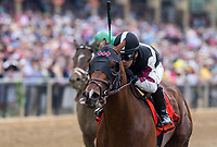 BALTIMORE, MD - MAY 20: Recruiting Ready  #7, ridden by Horacio Karamanos, wins the Chick Lang Stakes on Preakness Stakes Day at Pimlico Race Course on May 20, 2017 in Baltimore, Maryland.(Photo by Jesse Caris/Eclipse Sportswire/Getty Images)