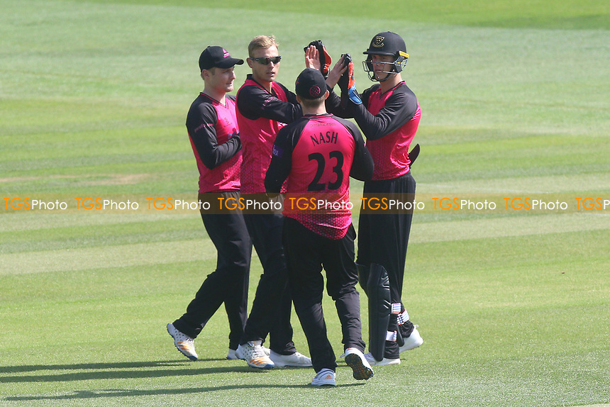 Danny Briggs of Sussex is congratulated by his team mates after taking the wicket of Daniel Lawrence during Essex Eagles vs Sussex Sharks, Royal London One-Day Cup Cricket at The Cloudfm County Ground on 10th May 2017
