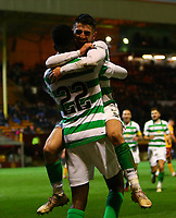 5th February 2020; Fir Park, Motherwell, North Lanarkshire, Scotland; Scottish Premiership Football, Motherwell versus Celtic; Greg Taylor of Celtic jumps on Odsonne Edouard of Celtic to celebrate his goal in the 80th minute