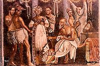 Roman Art:  Mosaic--Actors and Musicians.  National Museum, Naples.