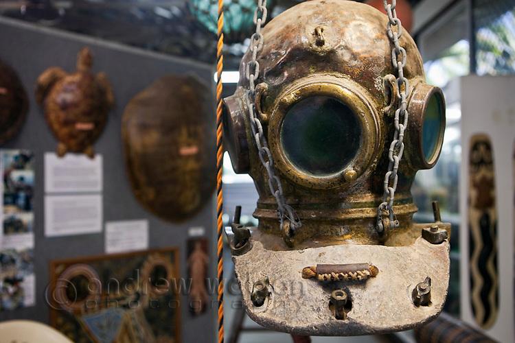 Pearl diving helmut and exhibit at the Torres Strait Heritage Museum.  Horn Island, Torres Strait Islands, Queensland, Australia