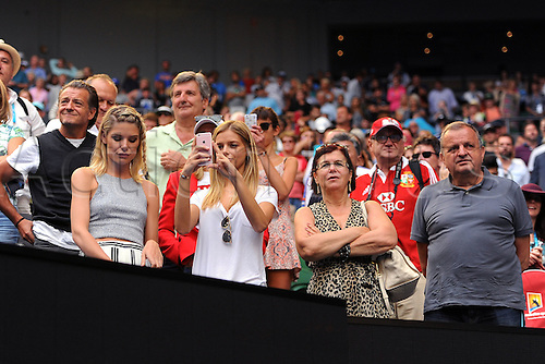 25.01.2016. Melbourne Park, Melbourne, Australia. Australian Open Tennis Championships. Start of week 2 of tournament.  Milos Raonic (CAN)  guest box and supporters