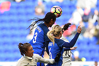 Harrison, NJ - Saturday, March 04, 2017: Wendie Renard goes up for a header  during a SheBelieves Cup match between the women's national teams of France (FRA) and Germany (GER) at Red Bull Arena.