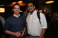 Jake Cohn and Baresh Jha attend the Happy Groups Launch Party at the Luxe Lounge at Lucky Strike, on May 22 in New York City.