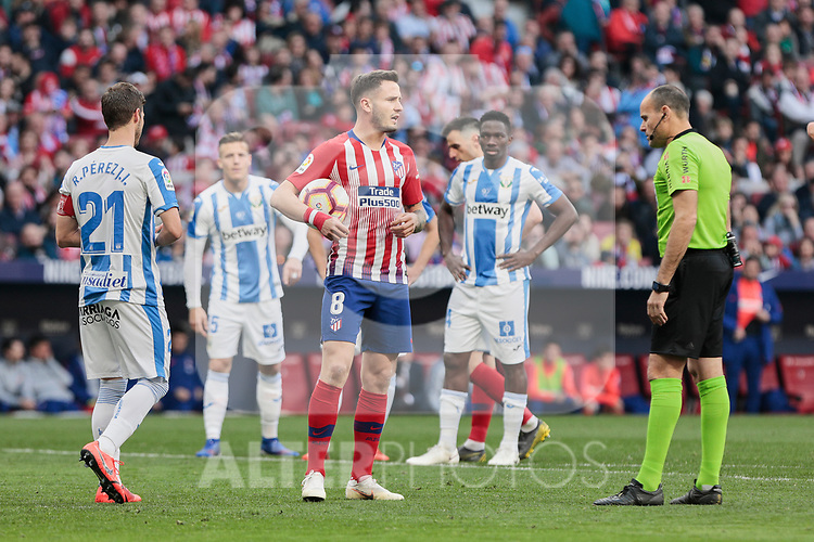 Atletico de Madrid's Saul Niguez and CD Leganes's Ruben Perez during La Liga match between Atletico de Madrid and CD Leganes at Wanda Metropolitano stadium in Madrid, Spain. March 09, 2019. (ALTERPHOTOS/A. Perez Meca)