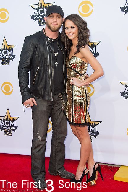 Brantley Gilbert and Amber Cochran attend the 50th Academy Of Country Music Awards at AT&T Stadium on April 19, 2015 in Arlington, Texas.
