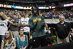 01 APR 2012:    Robert Griffin III cheers on the Baylor Women's Basketball team during the 2012 NCAA Division I Women's Basketball Semifinals held at Pepsi Center in Denver, CO.  Baylor defeated Stanford University 59-47 to move on to the National Championship game.  Trevor Brown, Jr./NCAA Photos