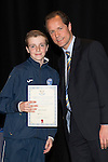 St Johnstone FC Youth Academy Presentation Night at Perth Concert Hall..21.04.14<br /> Alec Cleland presents to Ben Frazer<br /> Picture by Graeme Hart.<br /> Copyright Perthshire Picture Agency<br /> Tel: 01738 623350  Mobile: 07990 594431