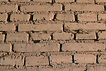 Traditional mud bricks in wall at Mission San Antonio de Padua, Monterey County, California