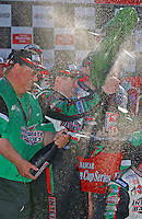 Winner Bobby Labonte celebrates in Victory Lane.