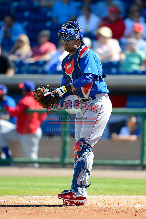 Dominican Republic catcher Francisco Pena #19 during a Spring Training game against the Philadelphia Phillies at Bright House Field on March 5, 2013 in Clearwater, Florida.  The Dominican defeated Philadelphia 15-2.  (Mike Janes/Four Seam Images)