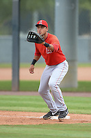 Los Angeles Angels of Anaheim first baseman Gabriel Santana (24) during an Instructional League game against the Arizona Diamondbacks on October 7, 2014 at Salt River Fields at Talking Stick in Scottsdale, Arizona.  (Mike Janes/Four Seam Images)