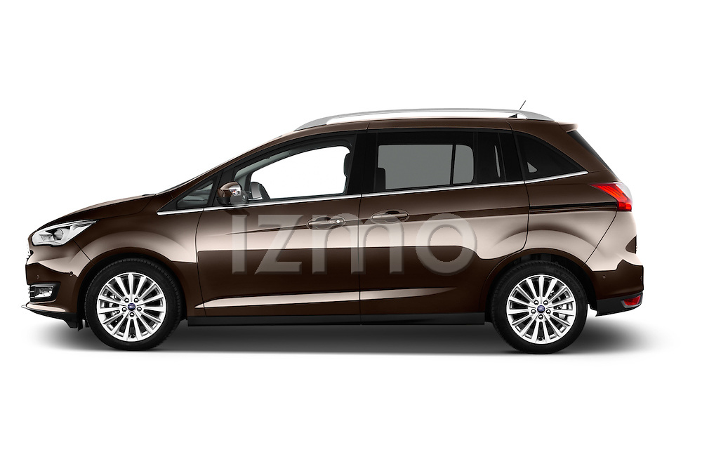 Car Driver side profile view of a 2015 Ford Grand C-Max Titanium 5 Door Mini Mpv Side View