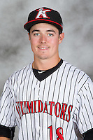 Bradley Strong (18) of the Kannapolis Intimidators poses for a head shot at Kannapolis Intimidators Stadium on May 4, 2016 in Kannapolis, North Carolina.  (Brian Westerholt/Four Seam Images)