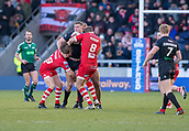 10th February 2019, AJ Bell Stadium, Salford, England; Betfred Super League rugby, Salford Red Devils versus London Broncos; Nathan Mason of London Broncos is tackled by Logan Tomkins and Lee Mossop of Salford Red Devils