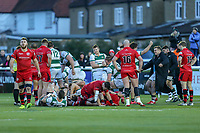 Celebrations at the final whistle during the Greene King IPA Championship match between Ealing Trailfinders and Jersey Reds at Castle Bar , West Ealing , England  on 22 December 2018. Photo by David Horn.