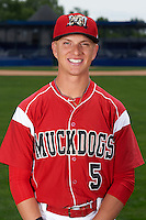 Batavia Muckdogs outfielder Kyle Barrett (5) poses for a photo on July 8, 2015 at Dwyer Stadium in Batavia, New York.  (Mike Janes/Four Seam Images)