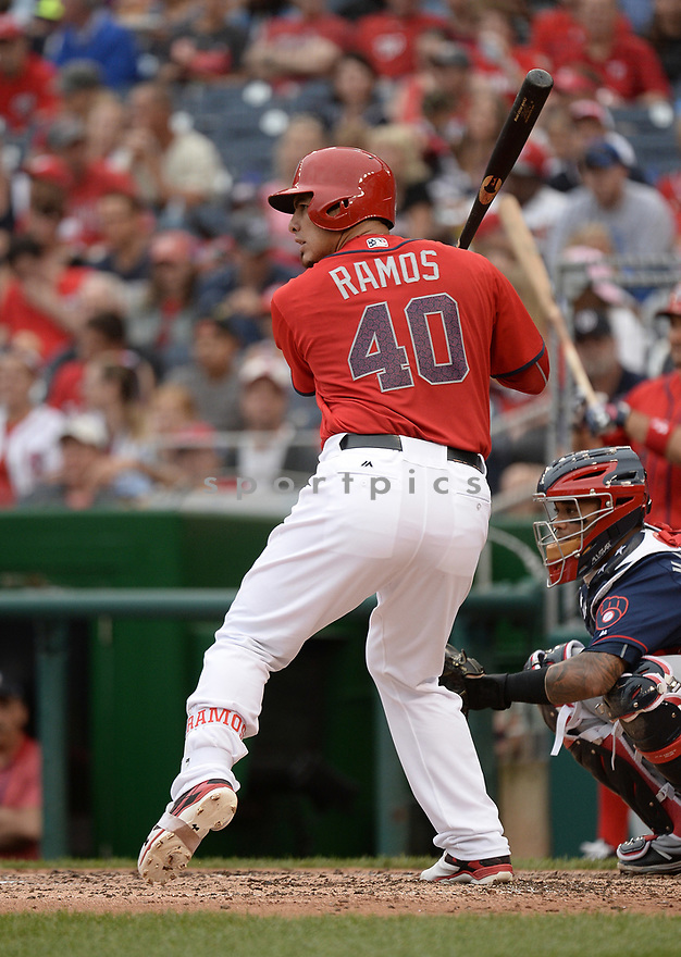 Washington Nationals Wilson Ramos (40) during a game against the Milwaukee Brewers on July 4, 2016, at Nationals Park in Washington DC. The Brewers beat the Nationals 1-0.