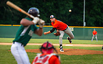 WATERBURY, CT-071520JS21—Brass City Bombers' Coe Garrett (27) delivers a pitch to Simsbury SaberCats' Jimmy DiVirgilio (5)  during their summer college league game Wednesday at Municipal Stadium in Waterbury. <br /> Jim Shannon Republican-American