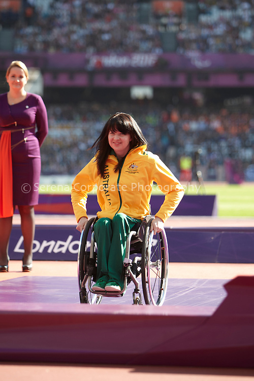 Australia's Angela Ballard receives her silver medal for the women's T53 200m at the London Paralympic Games - Athletics 7.9.12