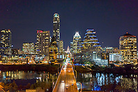Austin Skyline at Congress Ave -  This is a  latest view of downtown Austin Skyline at Congress Ave. at night with all the latest editions to the downtown area that runs along Lady Bird Lake. This image has the usual like the Texas Capitol and many high rise buildings like the Austonian and the Frost to name a few. We were able to capture this high quality aerial image because we use a full frame camera on our drone for out still photographs so we can get the best image which can be printed easlity as a 40 x 60 or larger size without loss of resolution.​