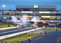 May 19, 2017; Topeka, KS, USA; NHRA top alcohol dragster driver Jackie Fricke during qualifying for the Heartland Nationals at Heartland Park Topeka. Mandatory Credit: Mark J. Rebilas-USA TODAY Sports