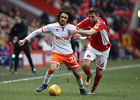 Blackpool's Nya Kirby battles with Charlton Athletic's Ben Purrington<br /> <br /> Photographer David Shipman/CameraSport<br /> <br /> The EFL Sky Bet League One - Charlton Athletic v Blackpool - Saturday 16th February 2019 - The Valley - London<br /> <br /> World Copyright © 2019 CameraSport. All rights reserved. 43 Linden Ave. Countesthorpe. Leicester. England. LE8 5PG - Tel: +44 (0) 116 277 4147 - admin@camerasport.com - www.camerasport.com