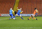 18/12/18 The Emirates FA Cup, 2nd Round Replay Blackpool v Solihull Moor<br /> <br /> Joe Dodoo  scores Blackpool's second goal