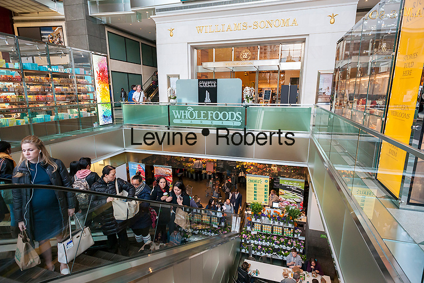 Customers leave Whole Foods Market in the Time Warner Center in New York on Tuesday, May 9, 2017. Whole Foods Market will release its fiscal second-quarter earnings report after the close of the market on Wednesday.  (© Richard B. Levine)