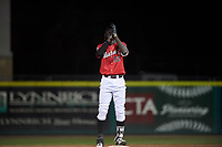 Billings Mustangs Edwin Yon (52) celebrates after hitting a double during a Pioneer League game against the Grand Junction Rockies at Dehler Park on August 15, 2019 in Billings, Montana. Billings defeated Grand Junction 11-2. (Zachary Lucy/Four Seam Images)