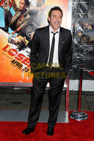 "JEFFREY DEAN MORGAN .""The Losers"" Los Angeles Premiere held at Grauman's Chinese Theatre, Hollywood, California, USA, .20th April 2010..full length suit beard facial hair black  tie white shirt mouth open funny hands in pockets smiling .CAP/ADM/BP.©Byron Purvis/AdMedia/Capital Pictures."