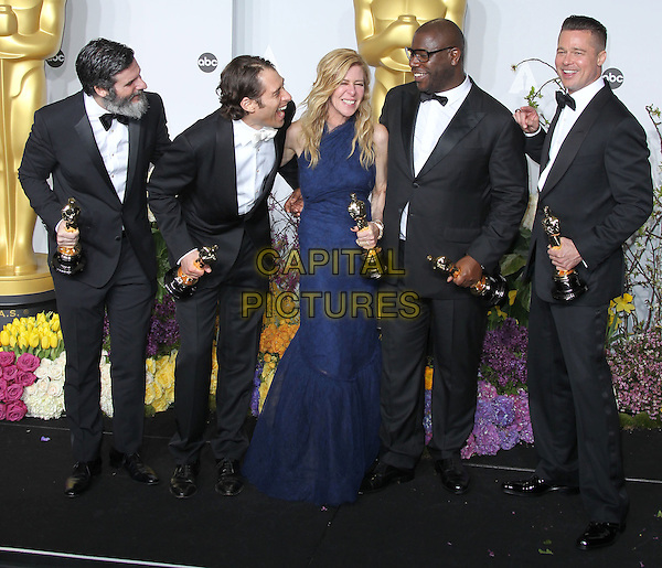 02 March 2014 - Hollywood, California - Anthony Katagas, Jeremy Kleiner, Dede Gardner, Brad Pitt and director Steve McQueen, winners of Best Picture for '12 Years a Slave'. 86th Annual Academy Awards held at the Dolby Theatre at Hollywood &amp; Highland Center. <br /> CAP/ADM/RE<br /> &copy;Russ Elliot/AdMedia/Capital Pictures