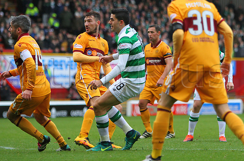 03.12.2016. Fir Park, Motherwell, Scotland. Scottish Premier League Football. Motherwell versus Celtic. Tom Rogic wins the match for Celtic 4-3