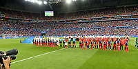 20190702 - LYON , FRANCE : both team line ups pictured during the female soccer game between England  - the Lionesses - and The United States of America  – USA - , a knock out game in the semi finals of the FIFA Women's  World Championship in France 2019, Tuesday 2 nd July 2019 at the Stade de Lyon  Stadium in Lyon  , France .  PHOTO SPORTPIX.BE | DAVID CATRY