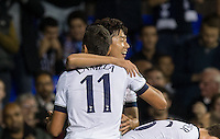 Erik Lamela of Tottenham Hotspur congratulates Son Heung-Min of Tottenham Hotspur on his first goal during the UEFA Europa League match between Tottenham Hotspur and Qarabag FK at White Hart Lane, London, England on 17 September 2015. Photo by Andy Rowland.