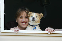 woman and dog pet happy smile