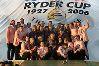 24th September, 2006. European Ryder Cup Team  celebrate with there partners holding the ryder cup after beating the American Team in the final day of the  Ryder Cup at the K Club in Straffan, County Kildare in the Republic of Ireland..Photo: Fran Caffrey/ Newsfile..