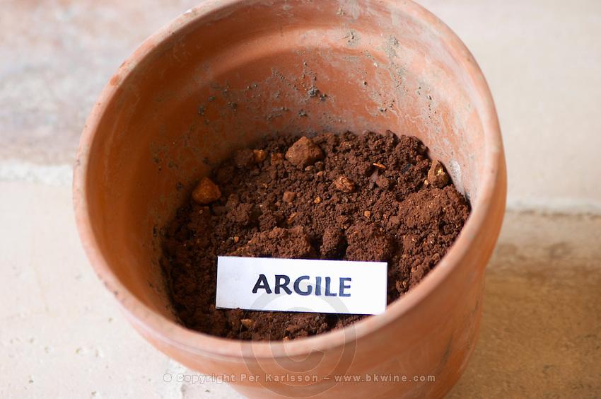 Plant pot with soil sample to illustrate different soil types, part of a series: clay, argile. Chateau Villerambert-Julien near Caunes-Minervois. Minervois. Languedoc. Terroir soil. France. Europe. Clay.