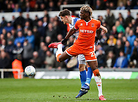 Blackpool's Armand Gnanduillet competing with Bristol Rovers' Tom Lockyer <br /> <br /> Photographer Andrew Kearns/CameraSport<br /> <br /> The EFL Sky Bet League Two - Bristol Rovers v Blackpool - Saturday 2nd March 2019 - Memorial Stadium - Bristol<br /> <br /> World Copyright © 2019 CameraSport. All rights reserved. 43 Linden Ave. Countesthorpe. Leicester. England. LE8 5PG - Tel: +44 (0) 116 277 4147 - admin@camerasport.com - www.camerasport.com