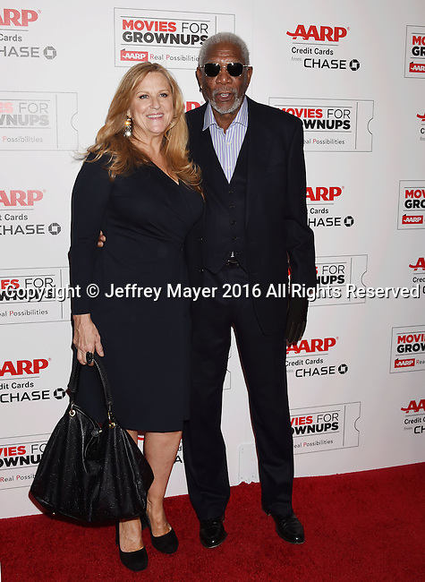 BEVERLY HILLS, CA - FEBRUARY 08: Producer Lori McCreary (L) and actor Morgan Freeman attend AARP's Movie For GrownUps Awards at the Regent Beverly Wilshire Four Seasons Hotel on February 8, 2016 in Beverly Hills, California.