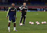 Wednesday 26 February 2014<br /> Pictured L-R: Leroy Lita and  manager Garry Monk in training.<br /> Re: Swansea City FC press conference and training at San Paolo in Naples Italy for their UEFA Europa League game against Napoli.