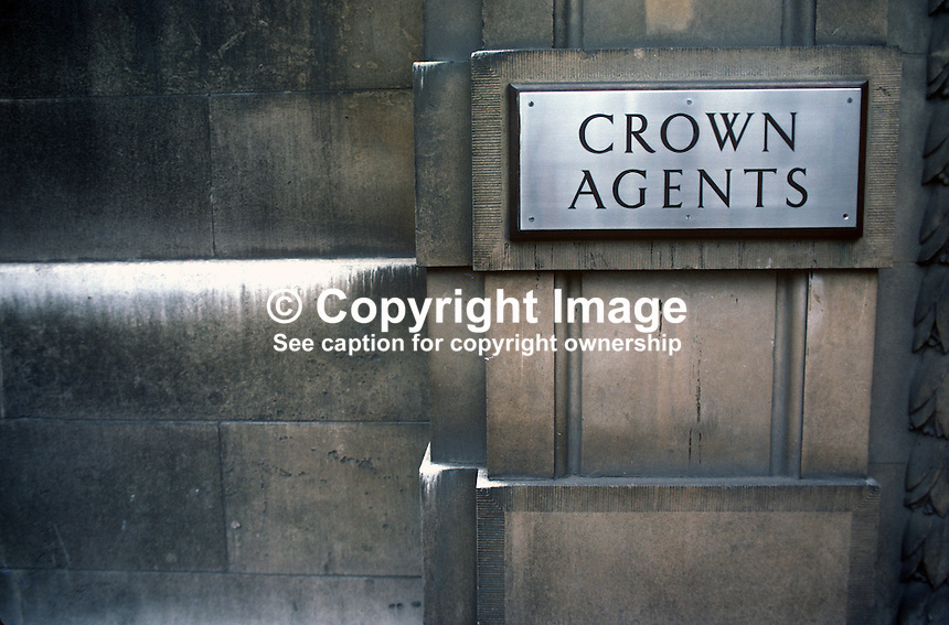Signage, logo, name plate, Crown Agents, London, UK, 19820300044CA2..Copyright Image from Victor Patterson, 54 Dorchester Park, Belfast, UK, BT9 6RJ.  Tel: +44 28 90661296  Mobile: +44 7802 353836.Email: victorpatterson@me.com Email: victorpatterson@gmail.com..For my Terms and Conditions of Use go to http://www.victorpatterson.com/ and click on Terms & Conditions