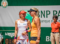 Paris, France, 1 June, 2017, Tennis, French Open, Roland Garros, Women's doubles: Kiki Bertens (NED) / Johanna Larsson (SWE) (L)<br /> Photo: Henk Koster/tennisimages.com